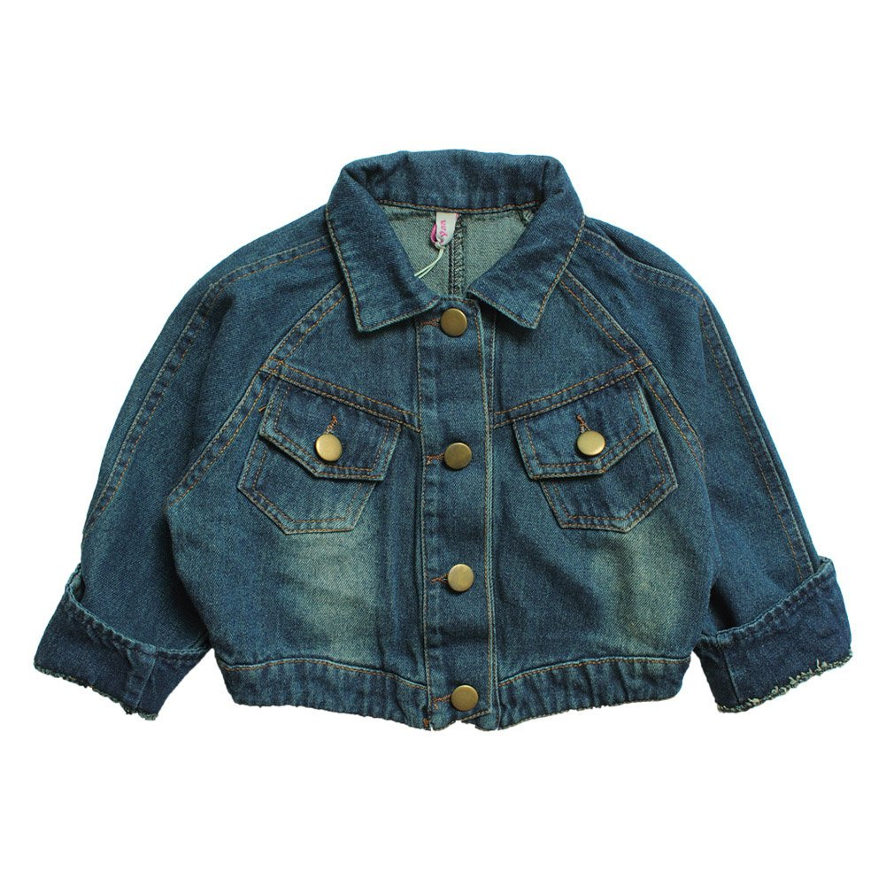 eTree Little Girls' Denim Thick Open Front Short Style Jackets Coats Size 4