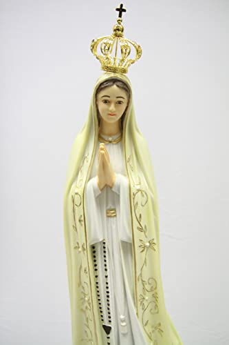 28 Inch Our Lady of Fatima Virgin Mary with Metal Crown Statue Sculpture Figurine Vittoria Collection Made in Italy Indoor Outdoor Garden Grotto Hand Painted