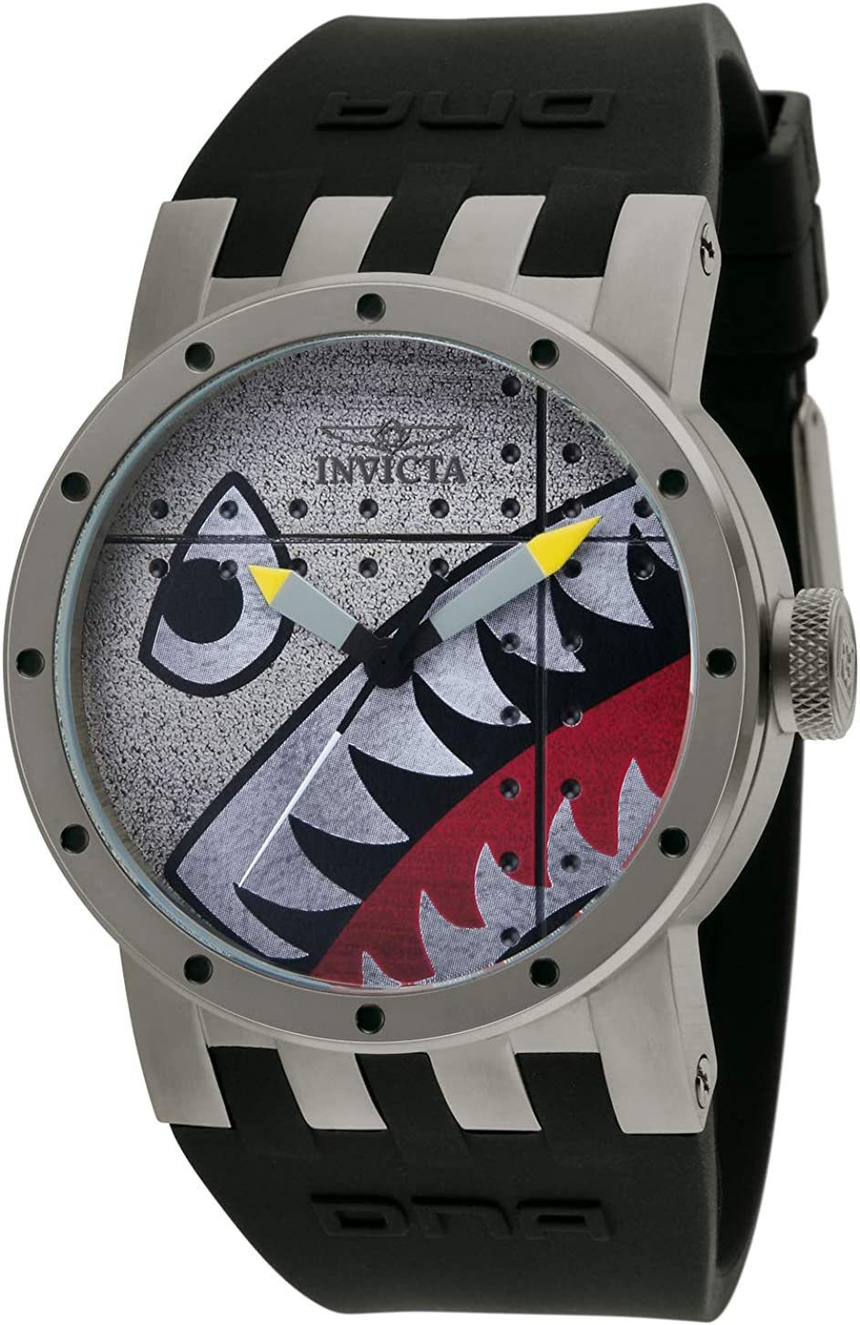 Invicta Men's 11651 DNA Bomber Brushed Black and Grey Dial Black Silicone Watch