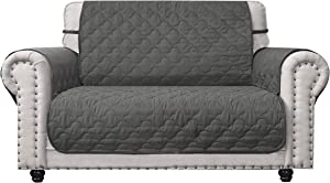 CHHKON Sofa Cover with Anti-Skip Dog Paw Print 100% Waterproof Quilted Furniture Protector Sofa Slipcover for Children, Pets for Leather Couch (Green, 46'')