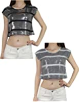 (Lot de 2) pour femme sexy top court sans manches Paillettes brillants