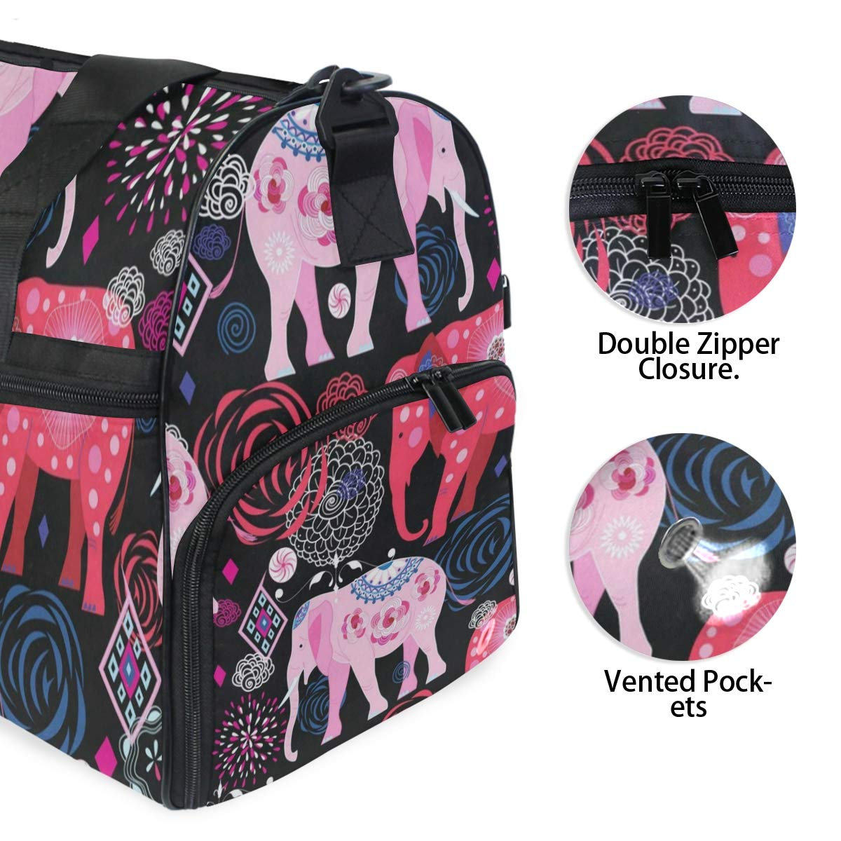 Travel Tote Luggage Weekender Duffle Bag Beautiful Elephant Large Canvas shoulder bag with Shoe Compartment