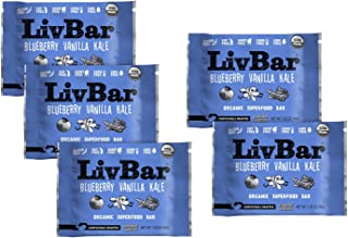 product image for LivBar - Blueberry Vanilla Kale Organic Superfood Nutrition Bar - USDA Certified - Non-GMO - Gluten Free, Peanut Free, Soy Free, Dairy Free, Protein Snack Bars with Compostable Wrapper - 5 Pack