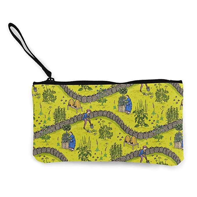 93bac17dd4 Medieval Herb Garden Color Pattern Canvas Coin Purse Assorted Change Cash Bag  With Zip