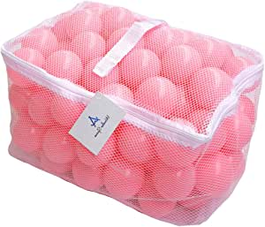 Wonder Space Soft Pit Balls, Smooth Crush-Proof Plastic Ocean Ball, Phthalate & BPA Chemicals Free with No Smell, Safe for Toddler Ball Pit/ Kiddie Pool/ Indoor Baby Playpen, Pack of 100 (Pure - Baby Pink)