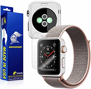 ArmorSuit White Carbon Fiber Skin Back Protector Film + Max Coverage HD Clear Screen Protector for Apple Watch 38mm (Series 3) - HD Clear