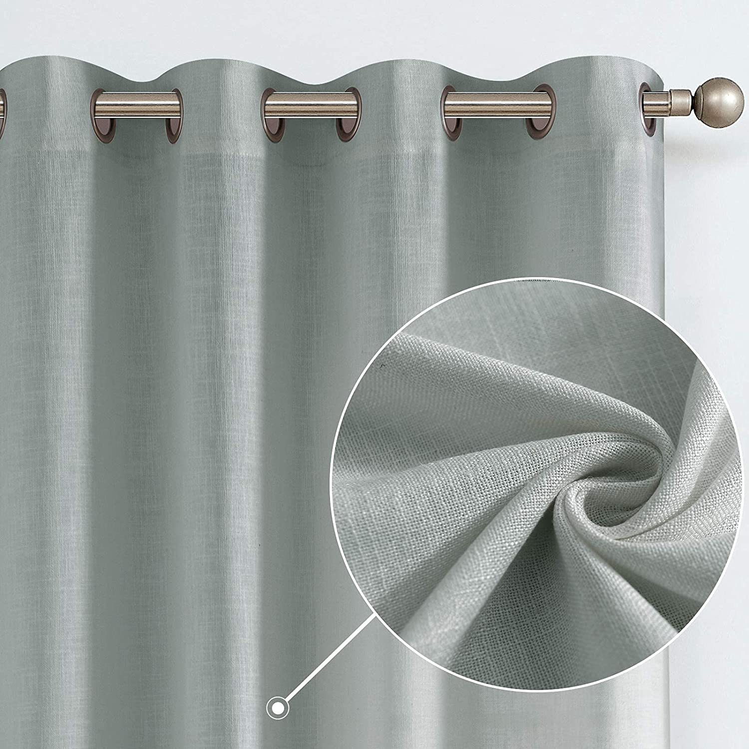Linen Curtains for Living Room Drapes Flax Window Curtain Panels for Bedroom 1 Pair 84