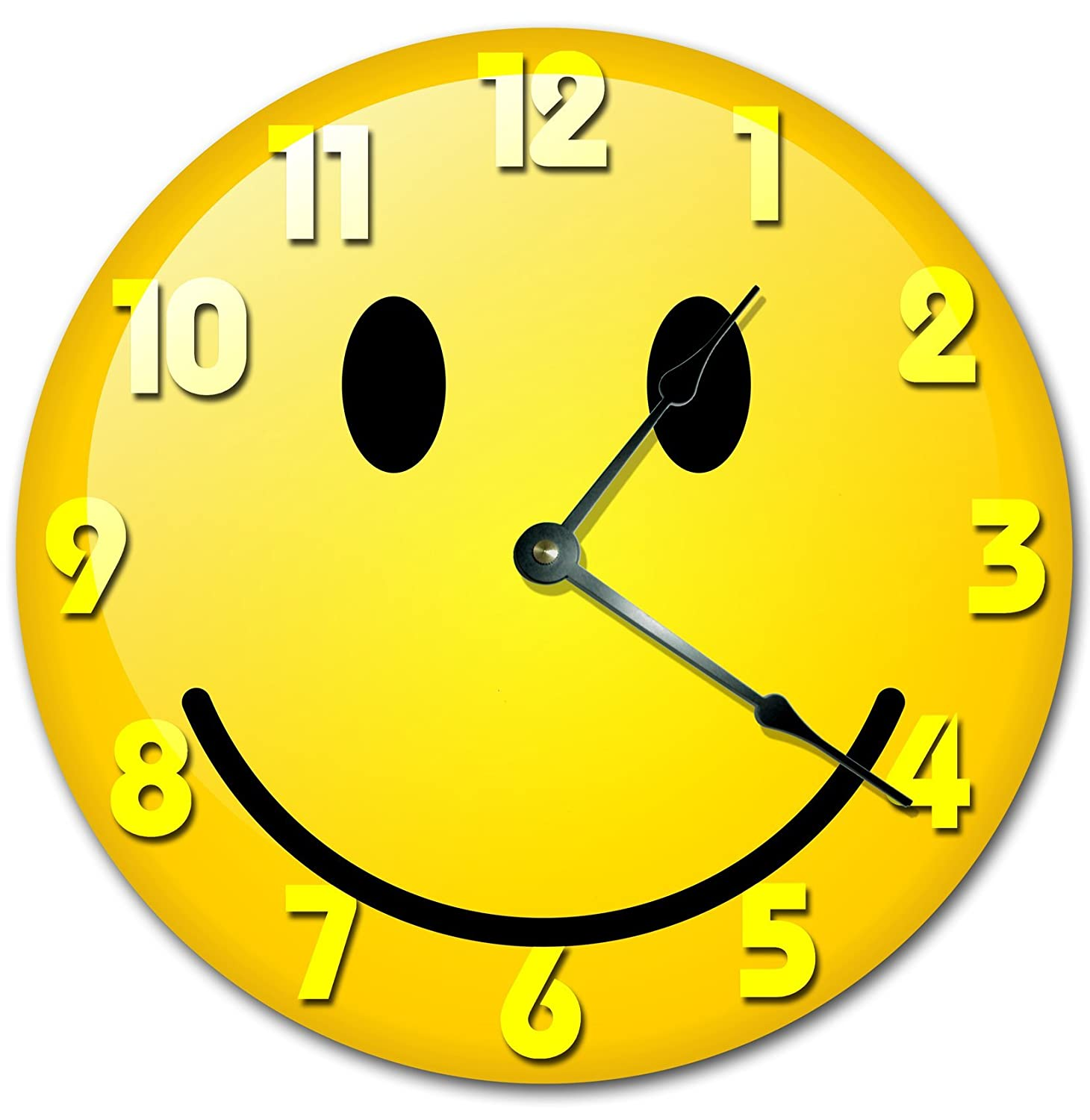 YELLOW SMILEY FACE CLOCK Large 10.5
