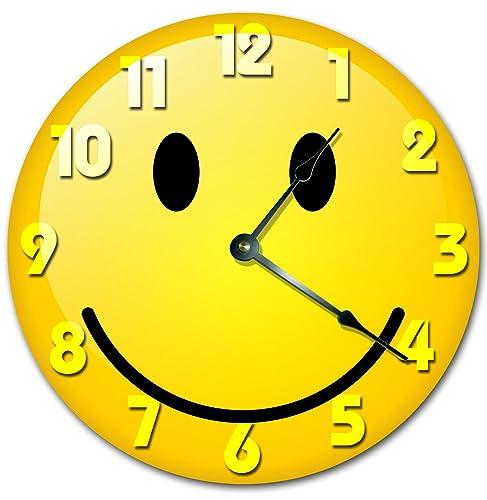 Amazoncom Yellow Smiley Face Clock Large 105 Wall Clock