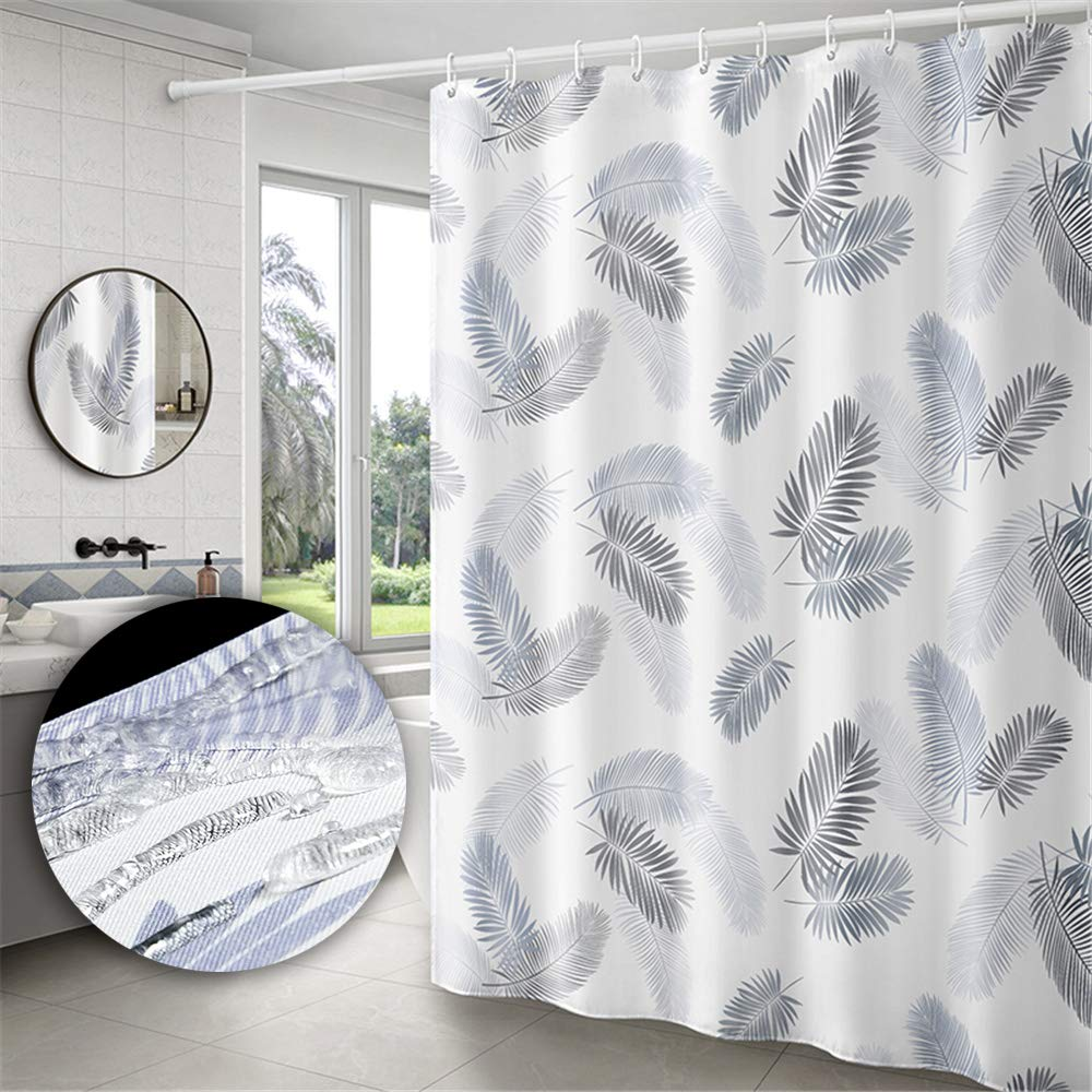 Yuclock Polyester Shower Curtain Waterproof and Moisture-Proof Thick Toilet Partition Curtain, 80X180 cm, Include Hook