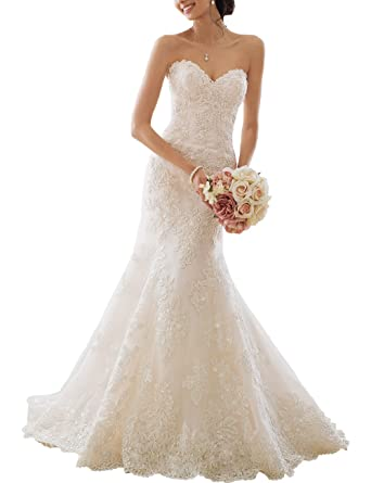Amazon.com: Now and Forever Women\'s Lace Mermaid Wedding Dresses ...
