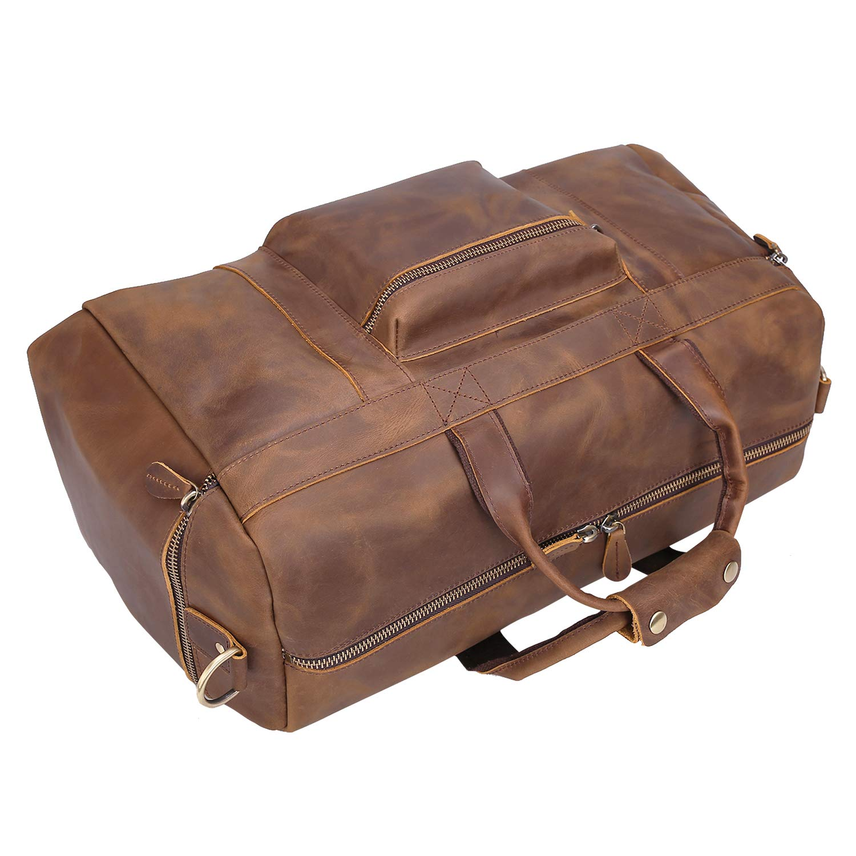 Texbo Mens Thick Full Grain Cowhide Leather Vintage Big Travel Duffle Luggage Bag 23-25