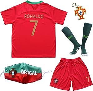 BIRDBOX 2021 Portugal Home Red #7 Cristiano Ronaldo Kids Soccer Jersey & Shorts Set Youth Sizes