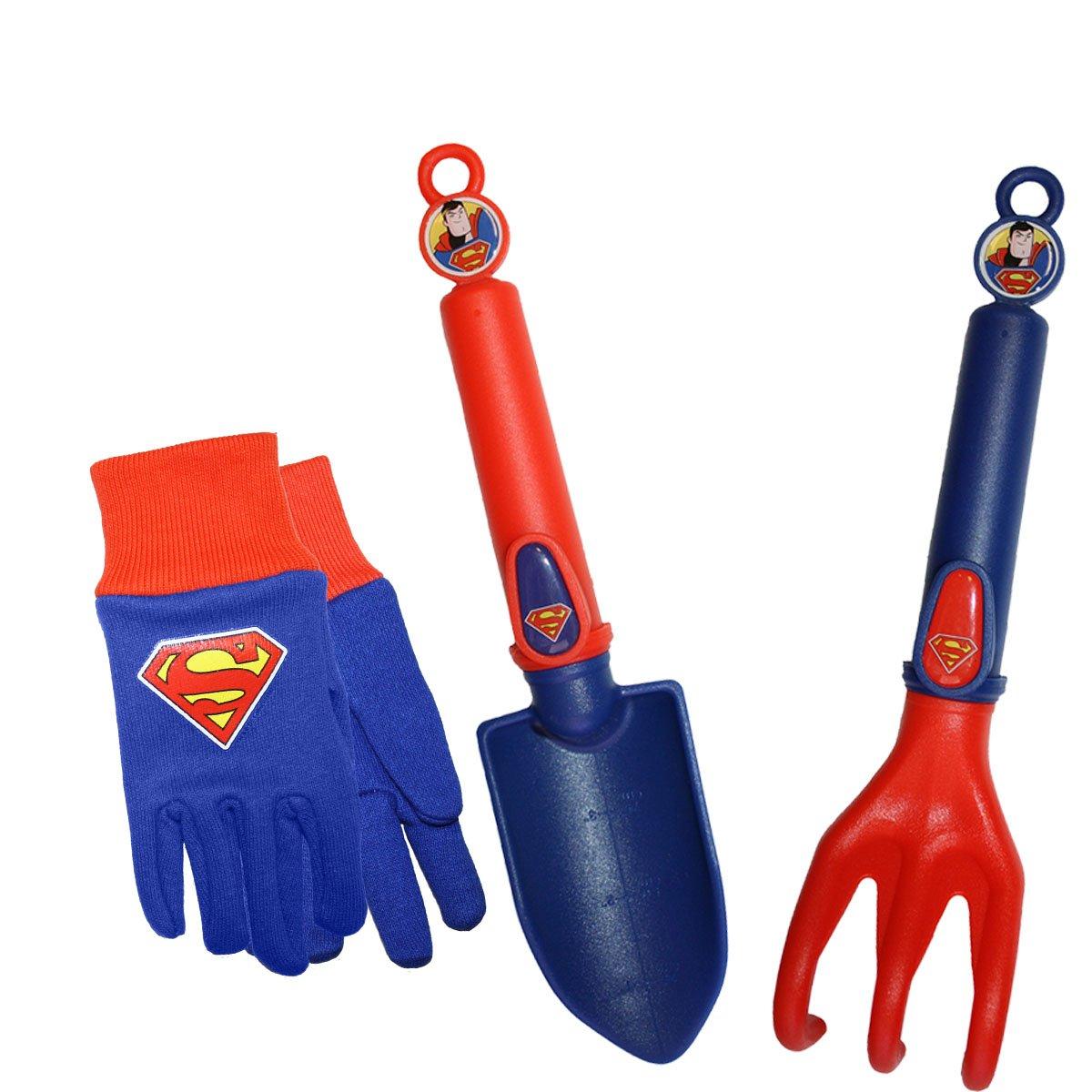 Midwest Gloves Gear SFSP16P03-EA-AZ-6 Kids Super Man Garden Set, Toddler, Blue Red