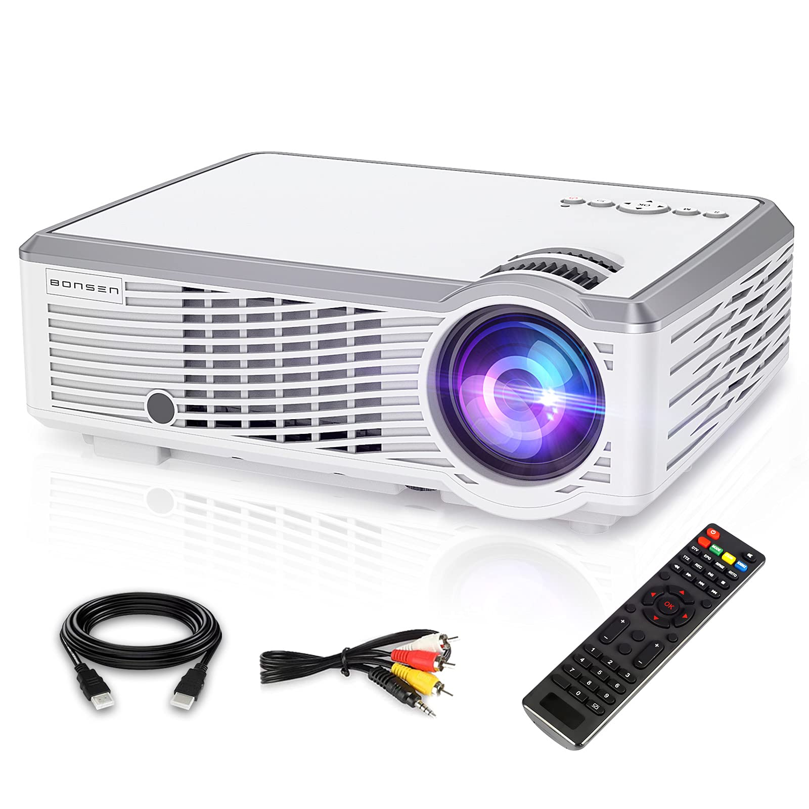 Mini Projector Bonsen Video Projector with 157 inch Projection Screen 30000 Hrs