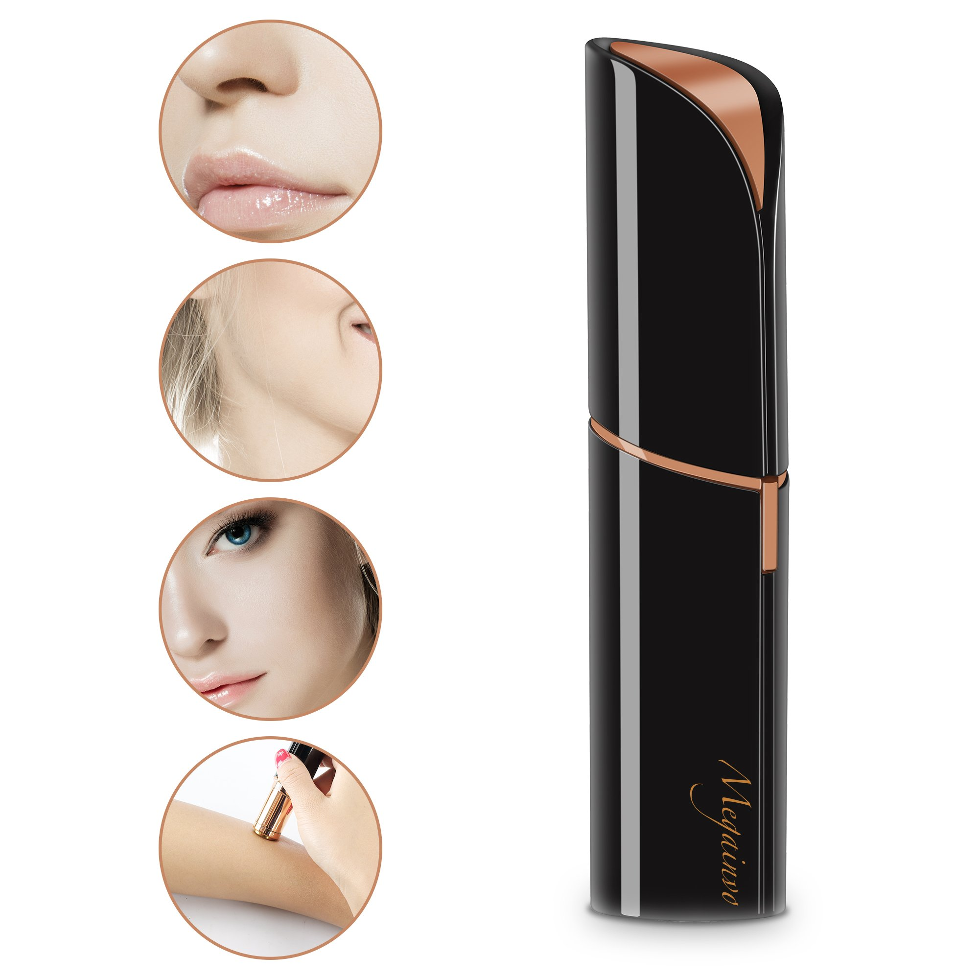 Facial Hair Removal, Megainvo Flawless Hair Removal Portable Painless Mini Discrete Hair Remover for Face, Bikini, Lip-USB Rechargeable