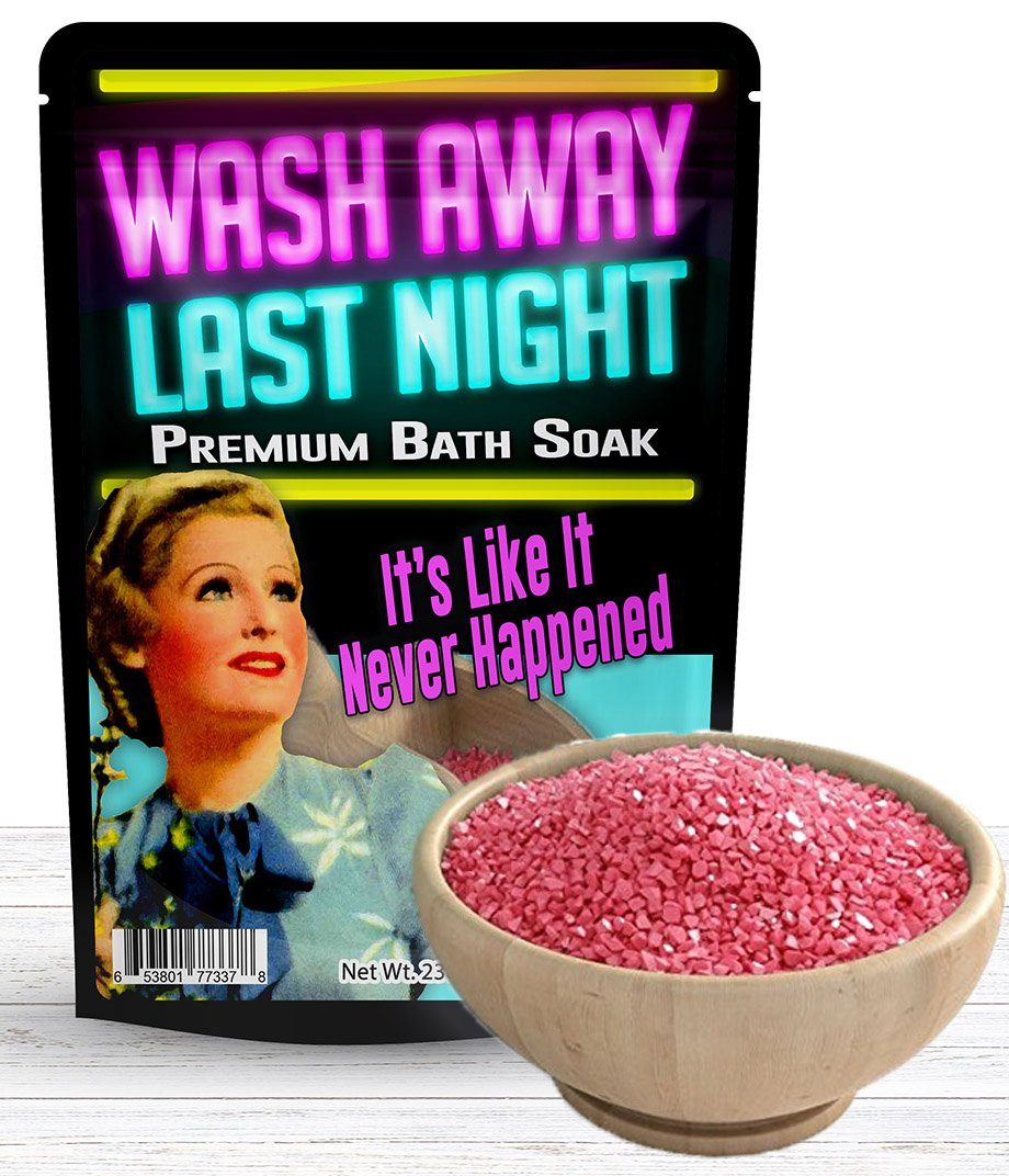 Wash Away Last Night Bath Soak – Pink Bath Salts Luxury Bath Funny Girlfriend Gifts For Best Friends Bath And Body Gifts For Women Mediterranean Sea Salts Ladies Night Gifts Bachelorette Party Favors