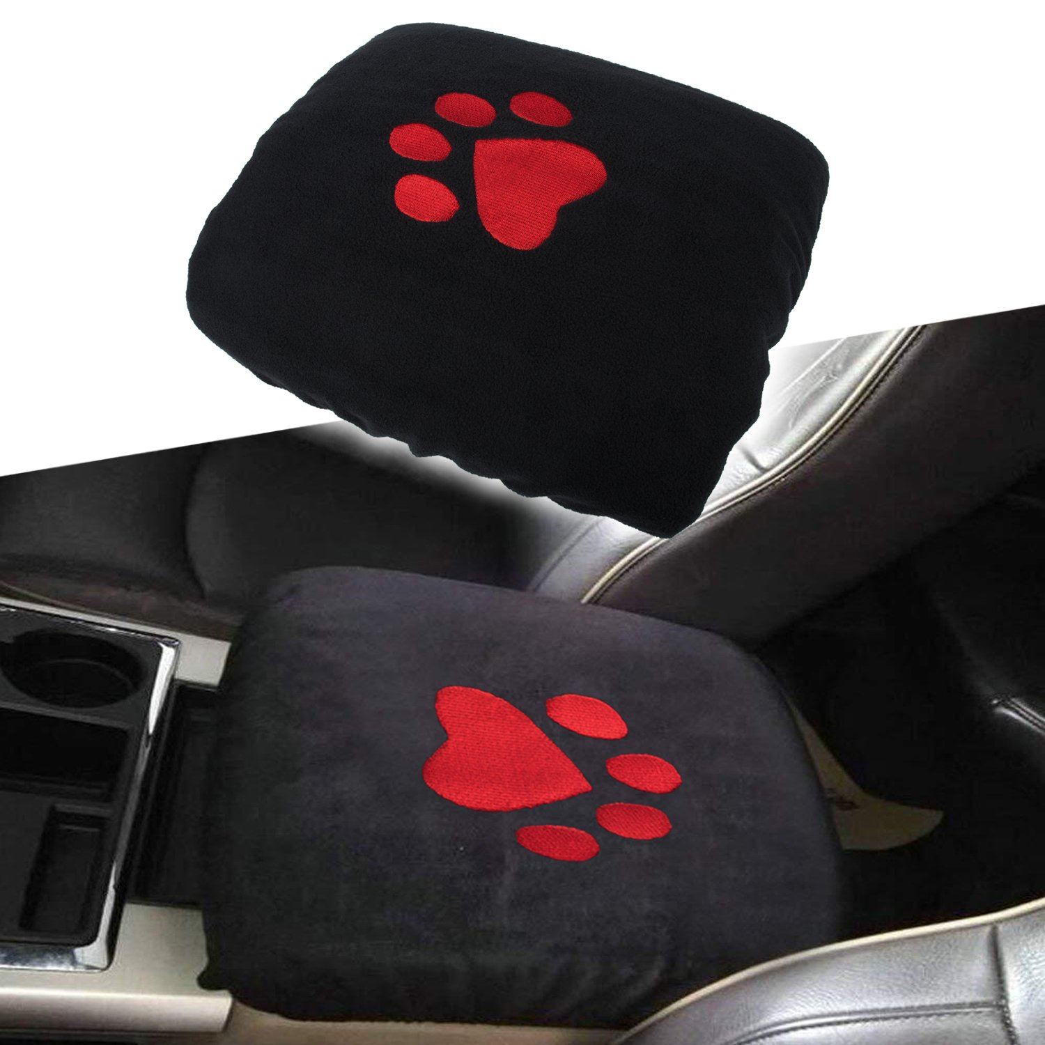 Center Console Armrest Pad Cover Dog Paw Sewing Logo Protector Cushion for Dodge Ram 1500 2500 3500 4500 5500 Pickup Trucks 1993-2018