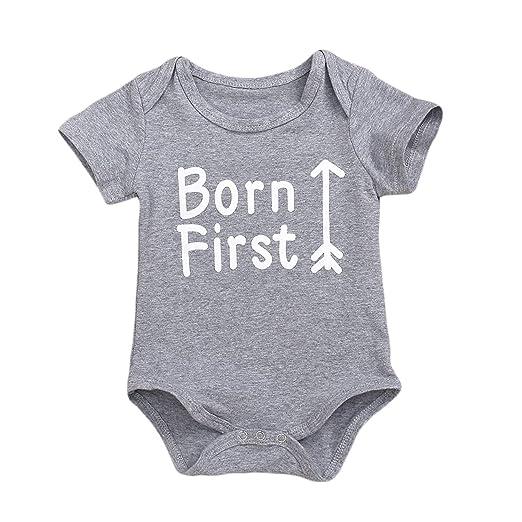 2aadc1440881 Amazon.com  HappyMA Twins Infant Baby boys girls Romper Matching ...