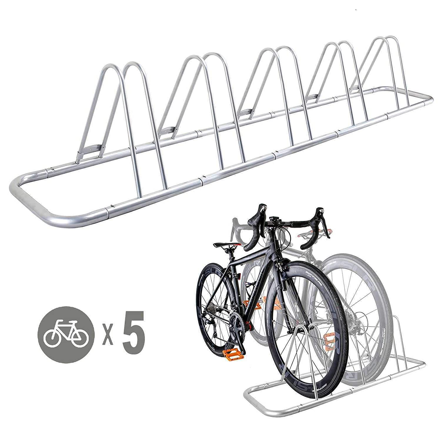 CyclingDeal 5 Bicycle Floor Type Parking Rack Stand – for Mountain and Road Bike Indoor Outdoor Nook Garage Storage