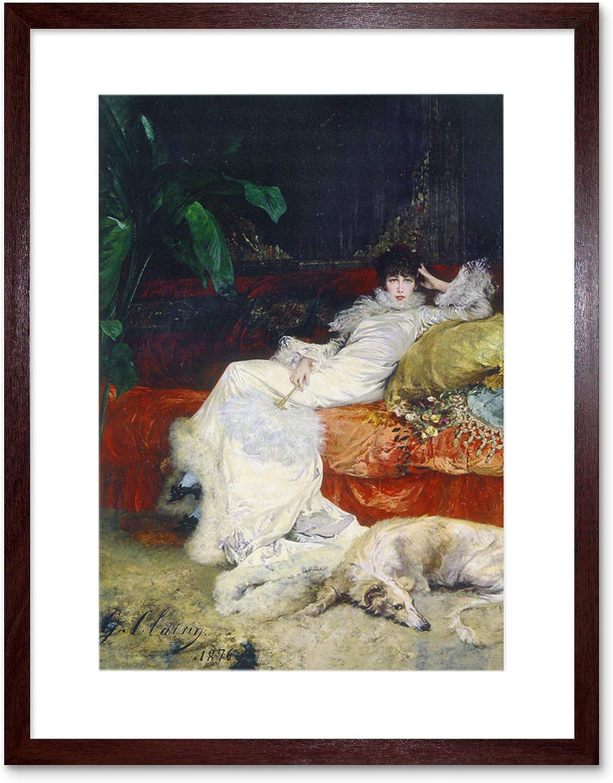 Painting Henderson Portrait Actress Sarah Bernhardt 12X16 Inch Framed Art Print