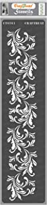 CrafTreat Floral Border Stencils for Painting on Wood, Canvas, Paper, Fabric, Floor, Wall and Tile - Border5-3x12 Inches - Reusable DIY Art and Craft Stencils for Painting Borders - Flower Border