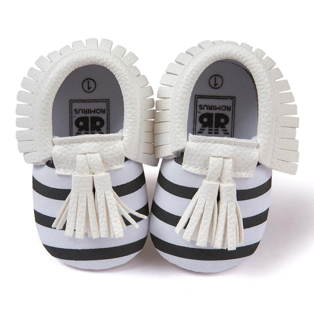Voberry Infant Toddlers Baby Boys Girls Soft Soled Tassel Crib Shoes PU Moccasins (12~18 Month, White stripe)