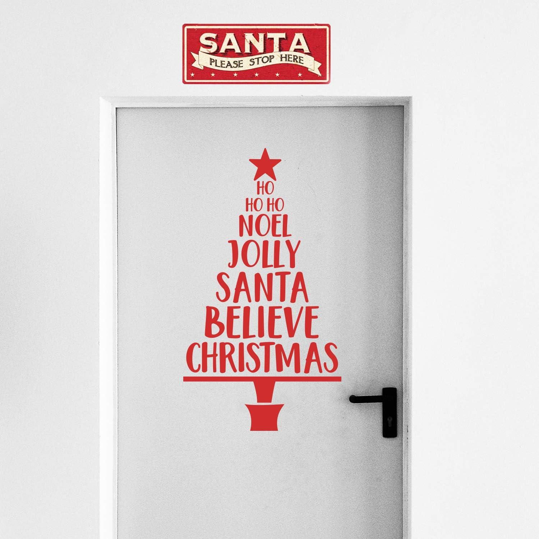 "Vinyl Wall Art Decal - Christmas Tree Words - 39"" x 22"" - Christmas Holiday Seasonal Sticker - Home Apartment Wall Door Window Work Decor Decals (39"" x 22"", Red)"