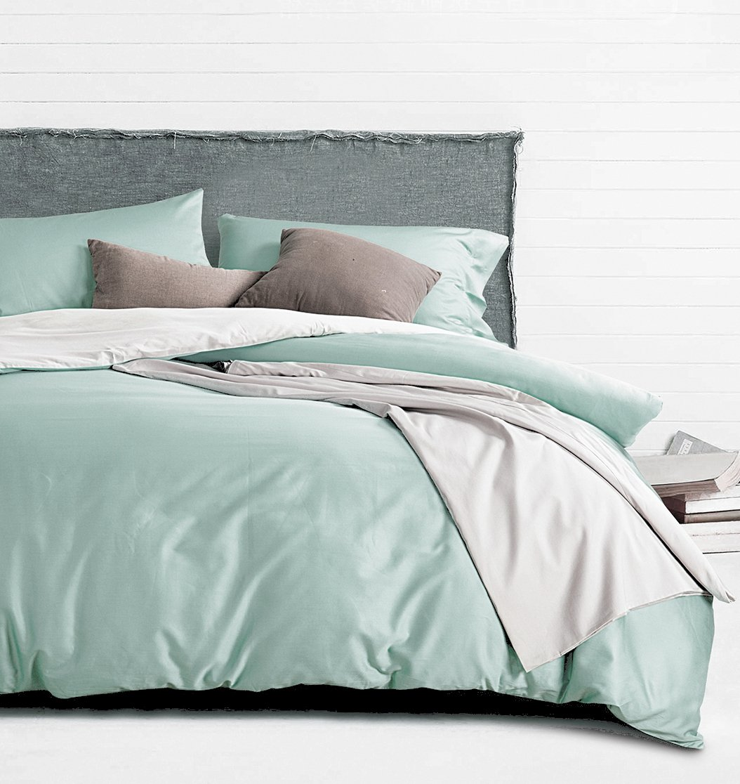 Silky Soft Breathable Pima Quality Bed Linen (King, Mint Sky