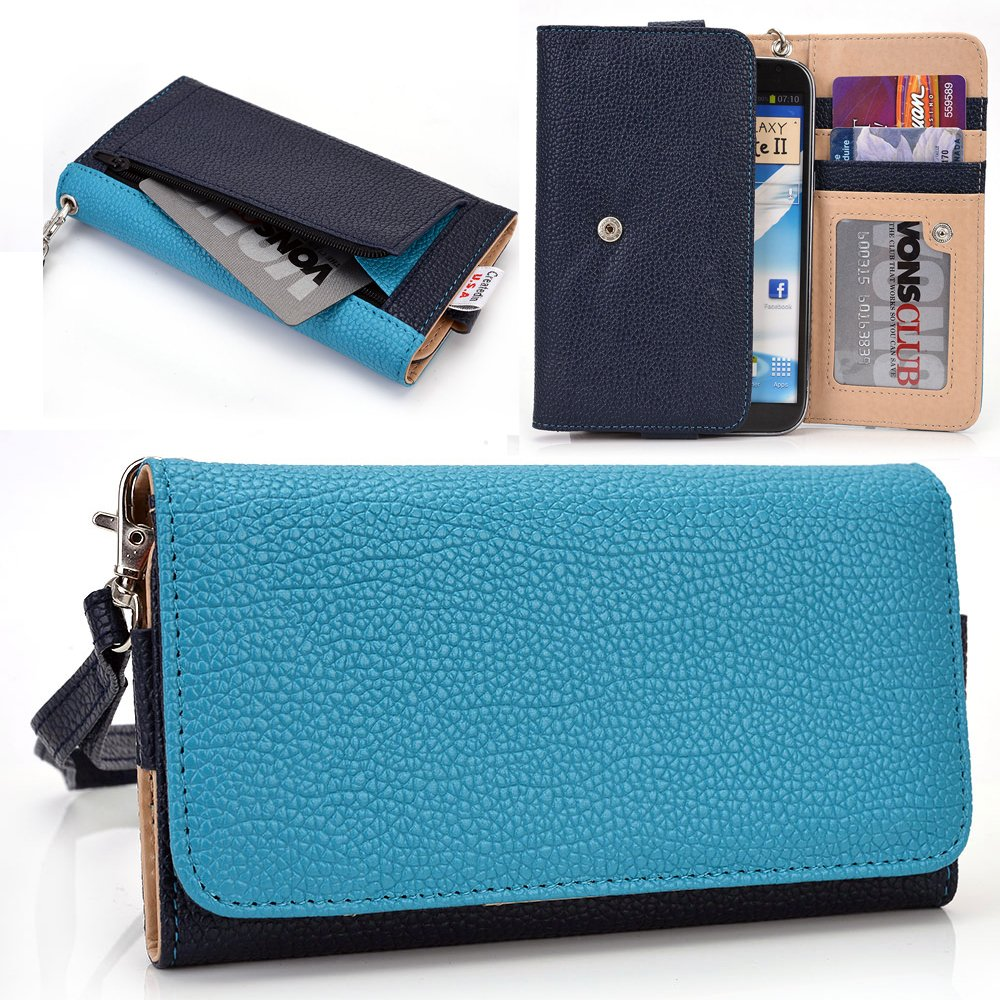 Amazon.com: Blue INK/Teal Vodafone Smart prime 6, Smart 4 power turbo Case | Cell phone Wallet & Wristlet for Women: Cell Phones & Accessories