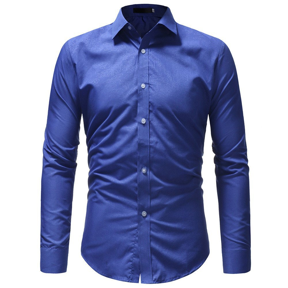 Men's Shirt -Clearance Sale!! Farjing Men Shirt Fashion Solid Pure Color Joint Male Casual Long Sleeve Shirt (2XL,Blue)