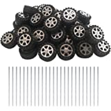 EUDAX 50pcs Plastic Roll 2mm Dia Shaft Toys Wheel and 25Pcs STEM Shaft Round Rod Axles for DIY Toy RC Car Truck Boat Helicopt
