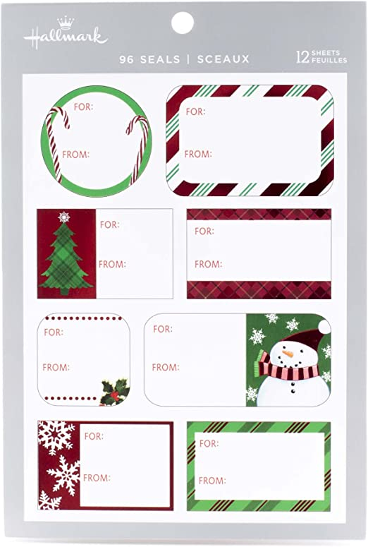 Happy Christmas Stickers Shiny Silver on White Labels for Cards Envelopes Craft