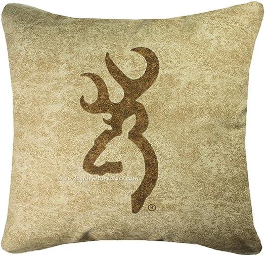 Browning Buckmark Square Logo Pillow Color Tan