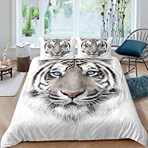 Erosebridal Kids Tiger Comforter Cover Wild Animal Print Bedding Set for Boys Girls Teens Adult Grey and White Bedspread Cover Brushed Bed Accessories Twin Size 1 Duvet Cover with 1 Pillow Case