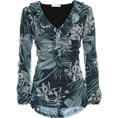 Art Shirt T A661391d Femme Noir Jardins Rouche Avec ZYwxCUq