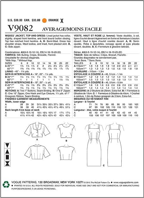 The MCCALL Pattern Company V1004 Vogue Instrucciones en ingl/és y alem/án Patr/ón de Costura para Vestido de Mujer