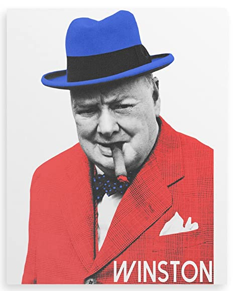 Art Print Poster CANVAS Winston Churchill Smoking Cigar