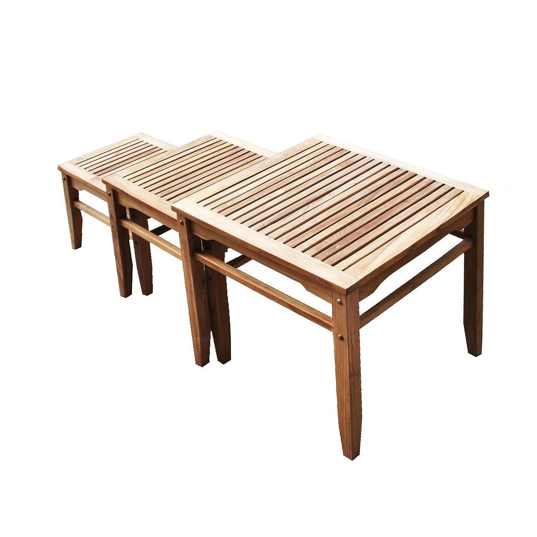 Amazon Com Teak Wood Nesting Table Set Of 3 Space Saving