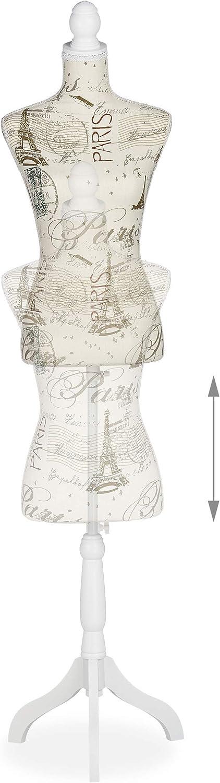 Relaxdays Schneiderpuppe weiblich 1 St/ück 165cm Kleiderpuppe h/öhenverstellbar bis ca Creme Muster Deko Gr/ö/ße 36 /& 38 N/ähen