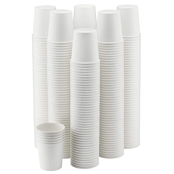 NYHI 300-Pack 4 oz. White Paper Disposable Cups – Hot/Cold Beverage Drinking Cup for Water, Juice, Coffee or Tea – Ideal for Water Coolers, Party, or Coffee On the Go'