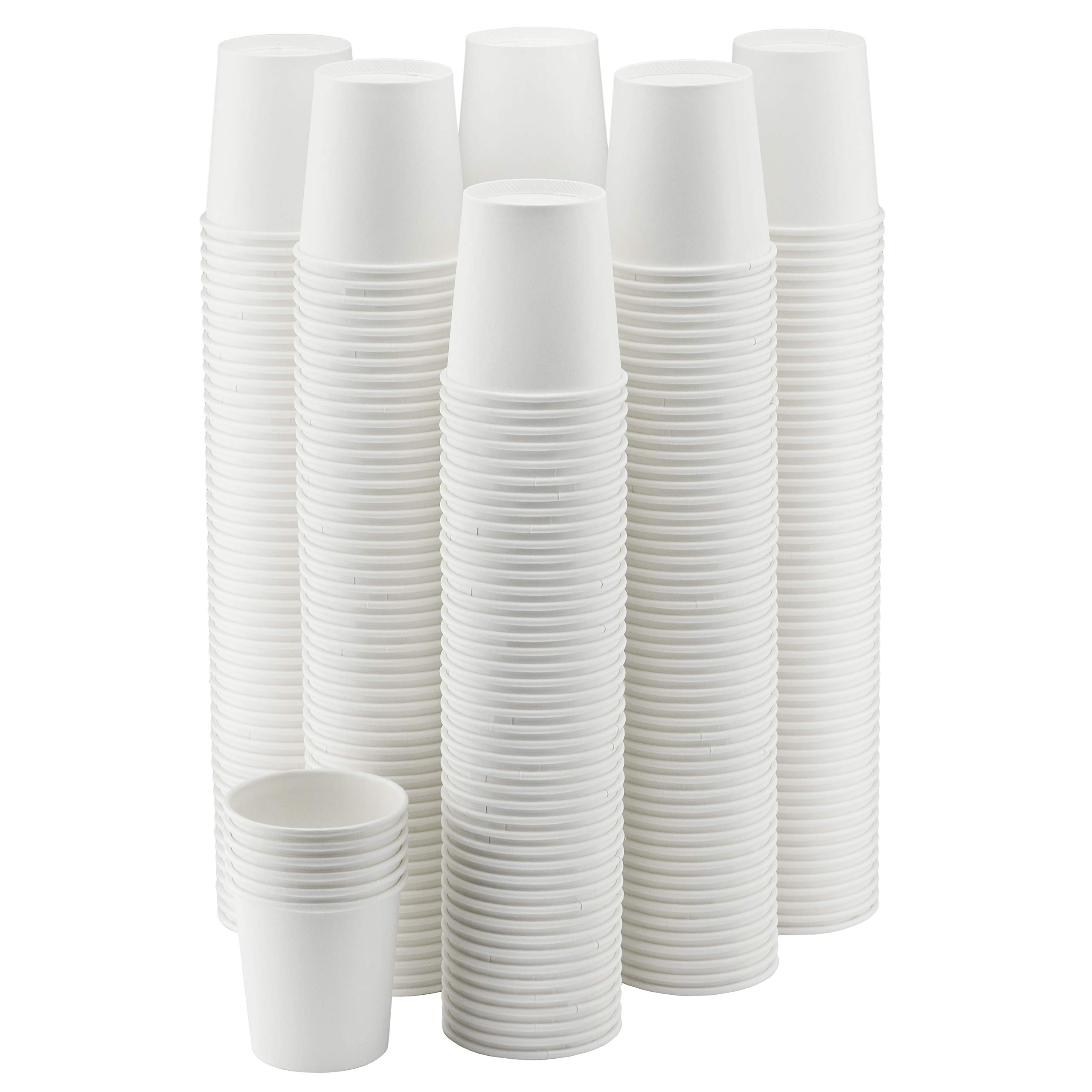 NYHI 300-Pack 6 oz. White Paper Disposable Cups - Hot/Cold Beverage Drinking Cup for Water, Juice, Coffee or Tea - Ideal for Water Coolers, Party, or Coffee On the Go'
