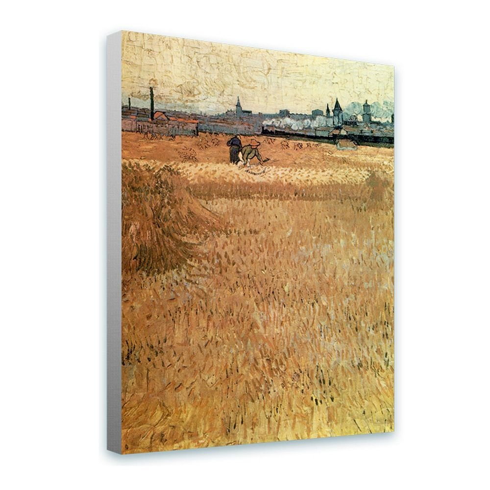 Alonline Art - Field Les Moissonneurs The Harvesters Vincent Van Gogh Framed Stretched Canvas (100% Cotton) Gallery Wrapped - Ready to Hang | 32''x43'' - 81x108cm | Framed Paints Framed Wall Decor