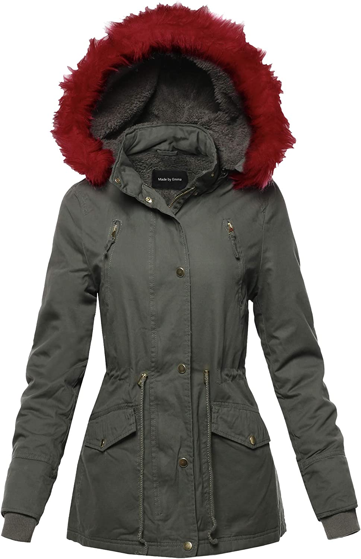 Womens Hooded Warm Long Coats Faux Fur Fleece Lined Parka Outdoor Jackets