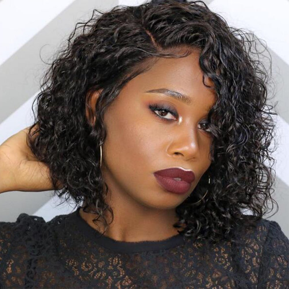 Full Lace Human Hair Short Wigs Curly for Women Brazilian Virgin Hair Short Bob Curly Human Hair Lace Front Wigs with Baby Hair (10 Inch Lace Front Wig, Natural Color)