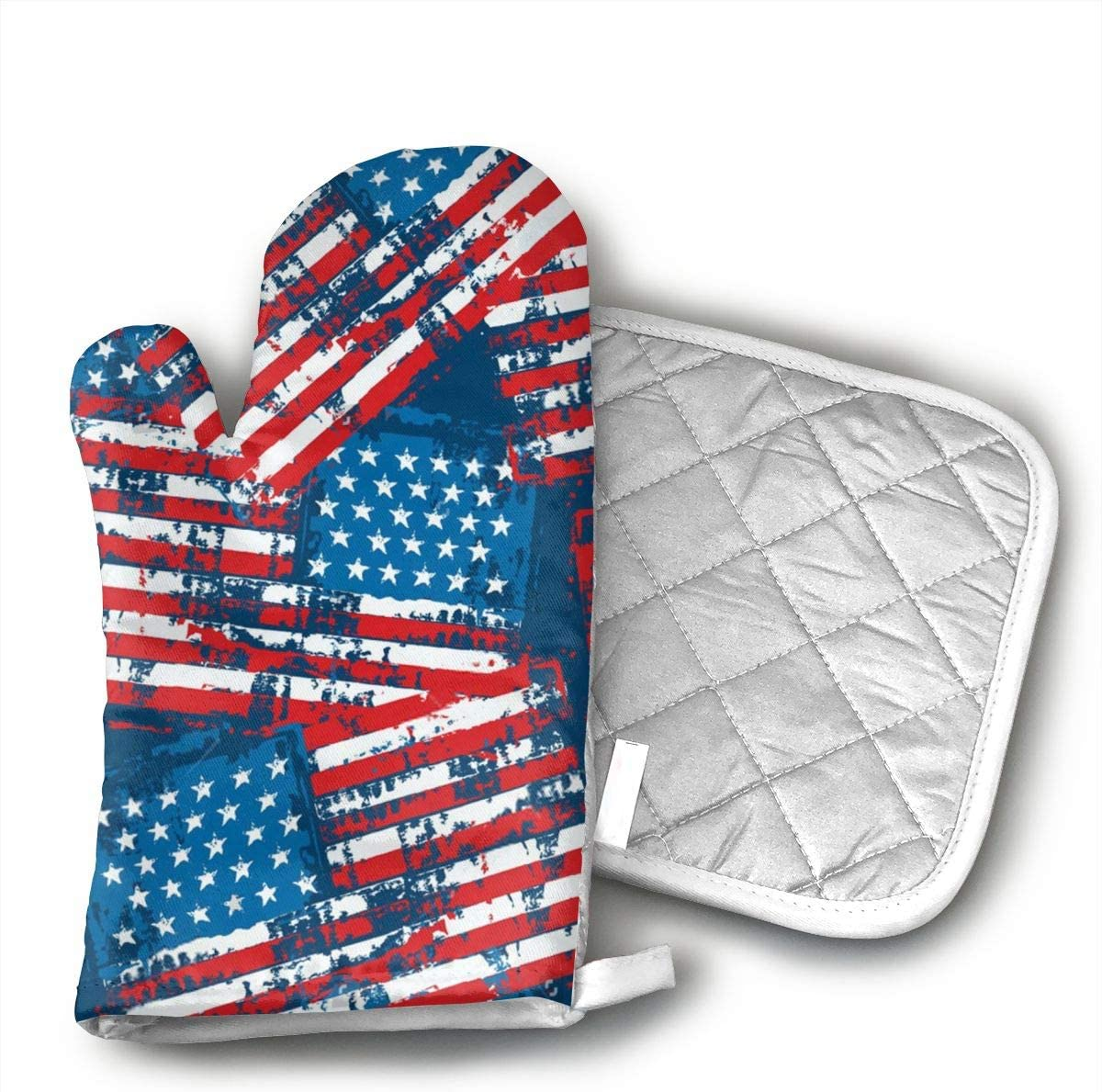 LCHKQR American Flag Patriotic Premium Heat Resistant Oven Hot Mitts,Professional Heat Resistant Baking Gloves - BBQ Oven Gloves for Kitchen Cooking, Baking, Grill