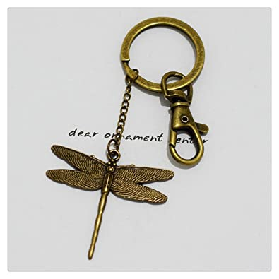 Llavero, diseño de libélula, latón antiguo libélula Llavero ...