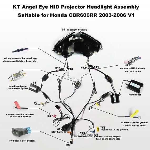 amazon com: k&t headlight assembly white angel eye fit for honda cbr600rr  2003-2006: automotive