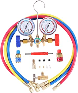 JIFETOR 3 Way AC Manifold Gauge Set Adjustable Quick Coupler with 5FT Hose HVAC Diagnostic Freon Charging Tool for Auto Household R12 R22 R404A R134A Refrigerant Can Tap and Acme Adapter