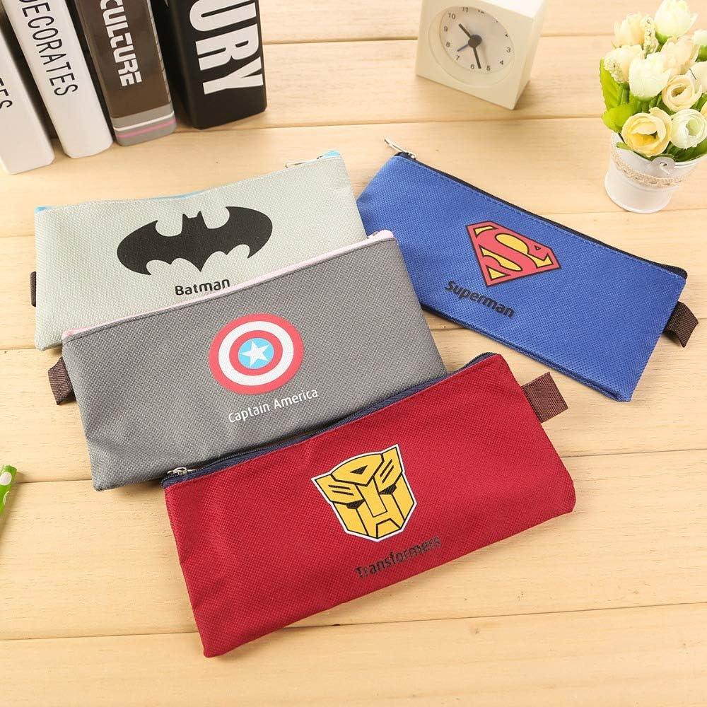 Marvel Superhero Batman Superman Capitán América Lienzo Estuche Lápiz Bolso Cremallera Portátil Estudiantes Papelería Bolsa Monedero: Amazon.es: Oficina y papelería